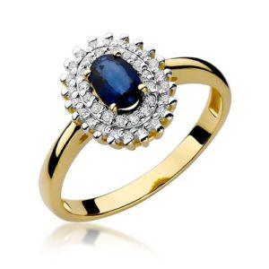 pierścionek złoty z szafirem