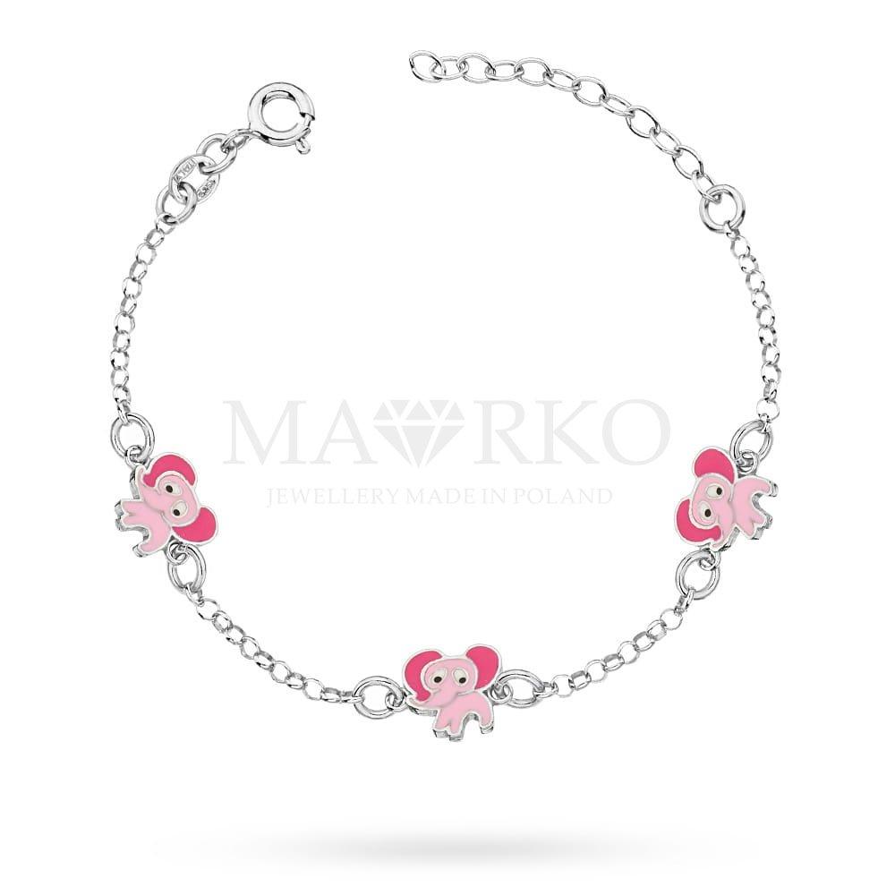 srebrna bransoletka dla dziewczynki - różowe słonie